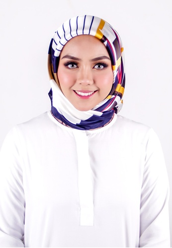 FATIMÉ multi Satin Square Hijab Block (Blue) B98EDAA4EA5481GS_1