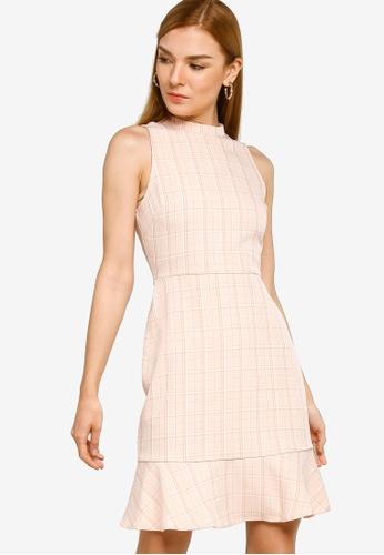 ZALORA WORK pink Mock Neck Fluted Sleeveless Dress F8FA2AAC4691FDGS_1