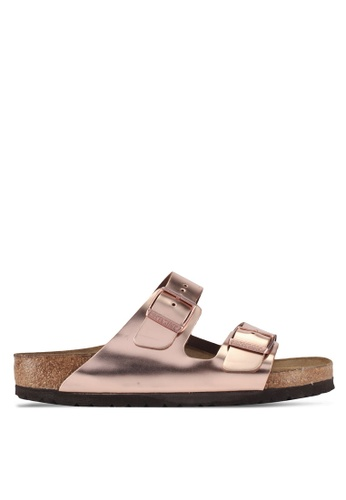 Birkenstock 褐色 Arizona Metallic Soft Footbed Sandals 6E2A9SH18BF345GS_1