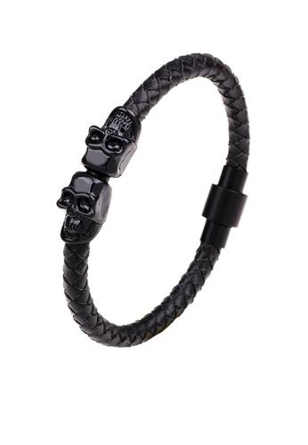 HAPPY FRIDAYS Skull Magnetic Buckled Leather Bracelet QNW2281 04EC3AC7649603GS_1