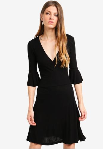 Brave Soul black 3/4 Sleeve Wrap Over Dress 007F8AA2E09C44GS_1