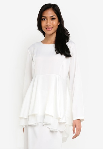 BYN white 2 Layer Flare Peplum Blouse BY059AA31VKQMY_1