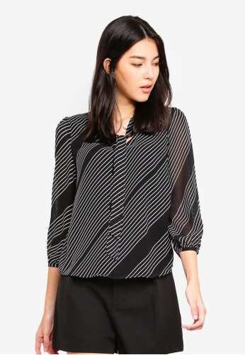 ZALORA black and multi Tie Detail Long Sleeves Top A422AAA5568D09GS_1