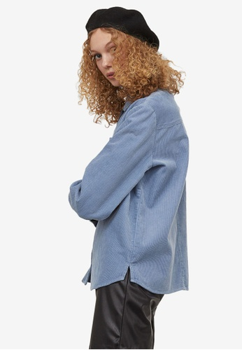H&M blue Corduroy Shirt 60BEAAA71E9B6BGS_1