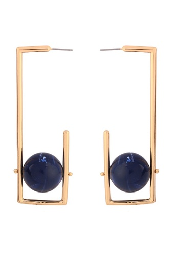 A-Excellence gold Hoop Black Earrings 4FB75AC115DDCFGS_1