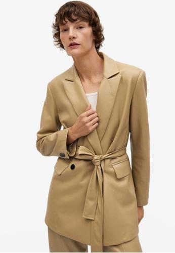Mango brown Belt Faux-Leather Blazer 9D35AAAF915610GS_1