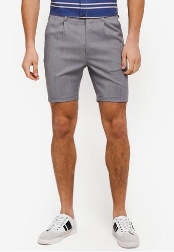 ZALORA grey Pin Stripes Formal Shorts 8E534AA21D4032GS_1