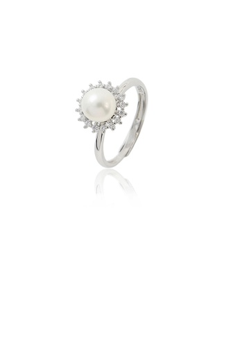 Glamorousky white 925 Sterling Silver Fashion Simple Geometric Freshwater Pearl Adjustable Ring with Cubic Zirconia B5F50ACE29B55AGS_1