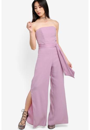 Miss Selfridge purple Bandeau Jumpsuit MI665AA45WEKMY_1