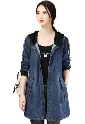 A-IN GIRLS navy Casual Stitching Denim Hooded Jacket F5443AA942B9EAGS_1