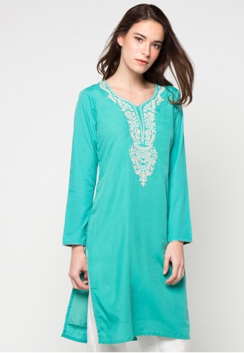 Chanira Festive Collection green Rafela Embroidered Tunic CH354AA43BJGID_1