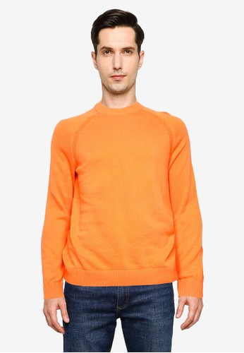 !Solid orange Luno O-Neck Organic Cotton Sweater 1F5CCAA602F6A3GS_1
