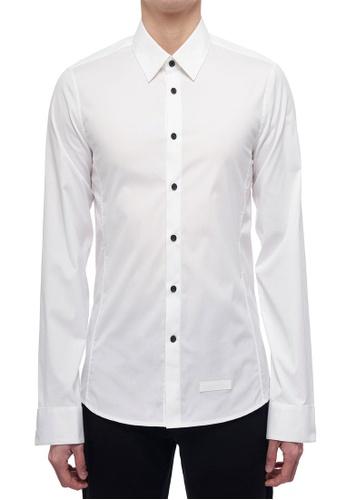 CK CALVIN KLEIN white Clean Cotton Stretch Long-Sleeved Shirt 429FEAAE5357AAGS_1