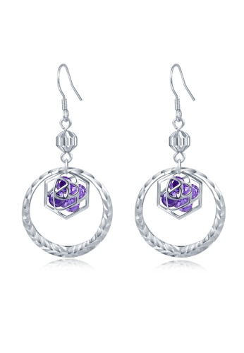 MBLife silver 925 Sterling Silver Purple CZ Rose Circle Hook Earrings 984A0AC92A9946GS_1