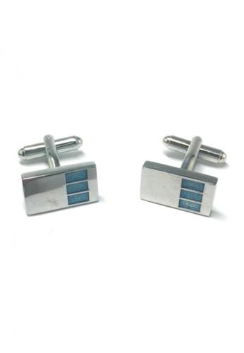 Splice Cufflinks silver 3 Blue Rectangle Design Silver Rectangular Cufflinks SP744AC70FUVSG_1