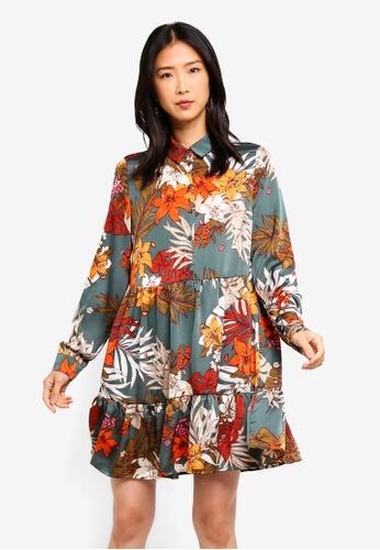 Vero Moda green and multi Ivy Flower Long Sleeve Tunic Dress 8B466AA3CD8478GS_1
