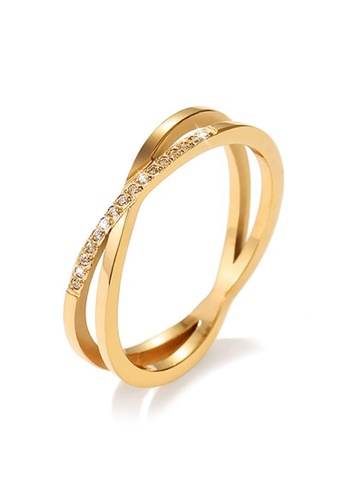 YOUNIQ gold YOUNIQ Infinity Brilliant Cut Diamante Titanium Band Ring in Rosegold / Silver / Gold as ROM Engagement Wedding Party Ring B34C3AC4984602GS_1