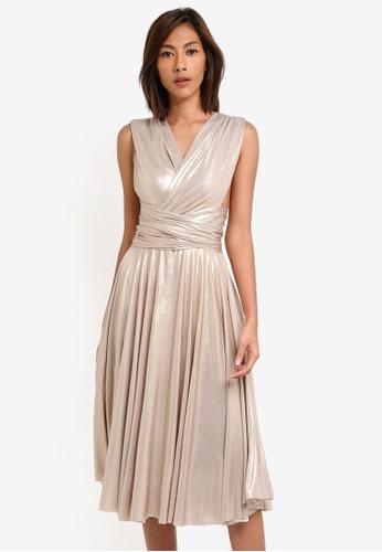 Goddiva gold Multi Tie Metallic Skater Dress GO975AA0SSCJMY_1