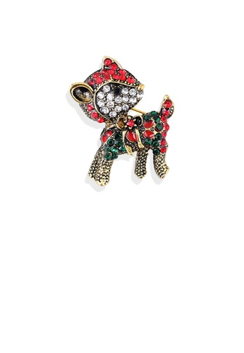 Glamorousky red Bright and Lovely Plated Gold Christmas Deer Brooch with Cubic Zirconia 14FD8AC8EA14A8GS_1