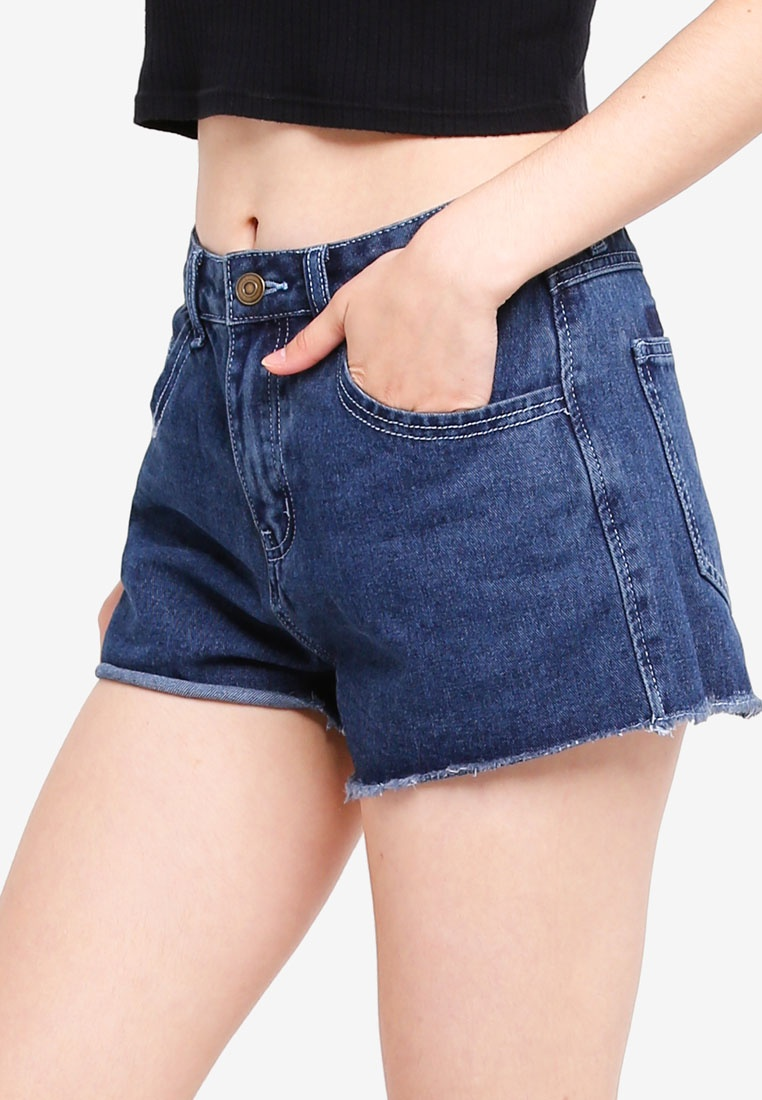 Off Something Mid Shorts Borrowed Contrast Cut Blue Wash IFFw7RBxnq