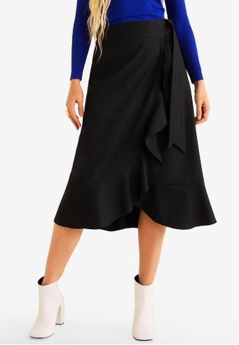 Mango 黑色 荷葉飾交叉造型裙 3F6D7AADDC8A80GS_1
