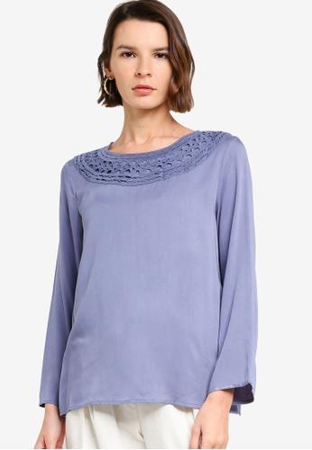 Zalia blue Abstract Neckline Trim Top 75018AA3588847GS_1