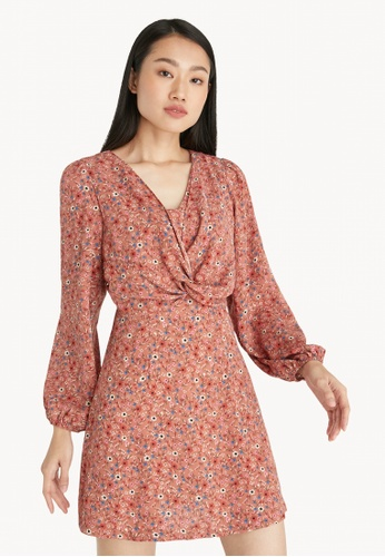 Pomelo pink Floral Ruched Mini Dress - Pink 0A052AA86E6074GS_1