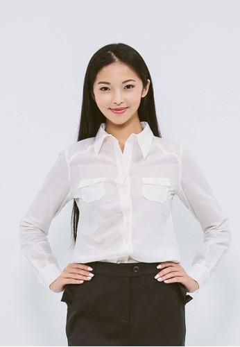 有機棉白色鈕釦錯位襯衫, esprit旗艦店服飾, 襯衫