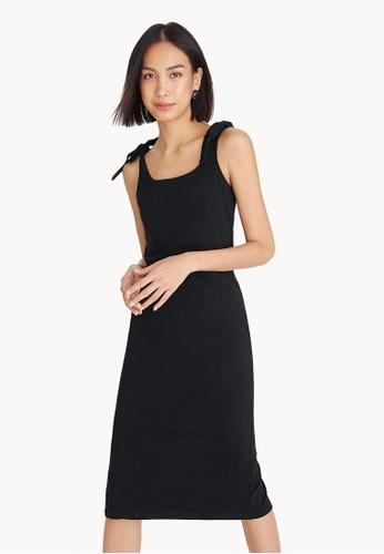 Pomelo black Midi Tie Shoulder Back Slit Dress - Black 054A6AA02FFE73GS_1
