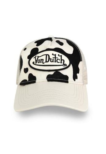 Von Dutch black and white Von Dutch Black & White Cow Print Pony Hair Trucker Cap AD28CACF5F6730GS_1