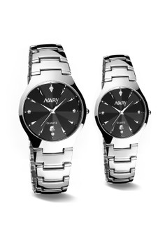 NARY Couple Stainless Band Quartz Watch - 6112