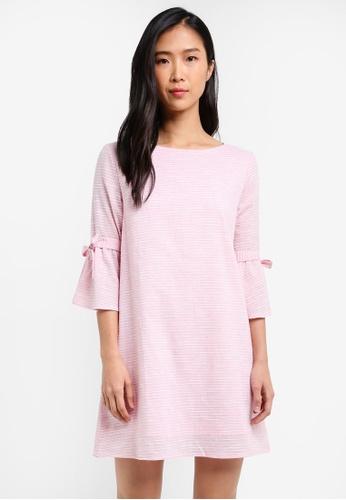 ZALORA pink Tie Sleeves Dress 02E12AA6EA0478GS_1