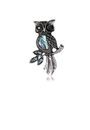 Glamorousky black Fashion and Elegant Owl Blue Shell Brooch with Cubic Zirconia 94DF8ACF070459GS_1