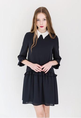 低腰esprit 高雄荷葉飾小尖領連身裙, 服飾, 洋裝