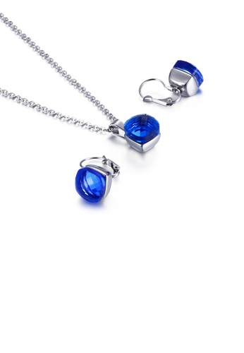 Glamorousky blue Fashion Simple Geometric Square 316L Stainless Steel Necklace and Earring Set with Blue Cubic Zirconia 0376FAC190F96BGS_1