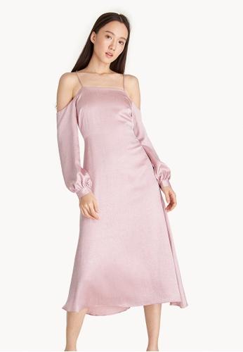 Buy Pomelo Back Tie Cold Shoulder Dress - Pink Online on ZALORA ...