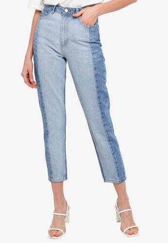 Trendyol blue Light Blue Blocked High Waist Mom Jeans ABC5DAACAF5C69GS_1