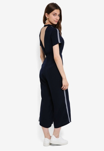 Something Borrowed navy High Neck Strip Trim Jumpsuit E24B9AA2D34405GS_1