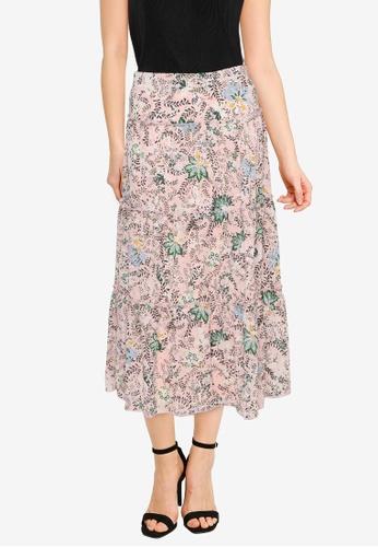 Nichii 粉紅色 Floral Print Midi Skirt 5740EAADCB0B15GS_1