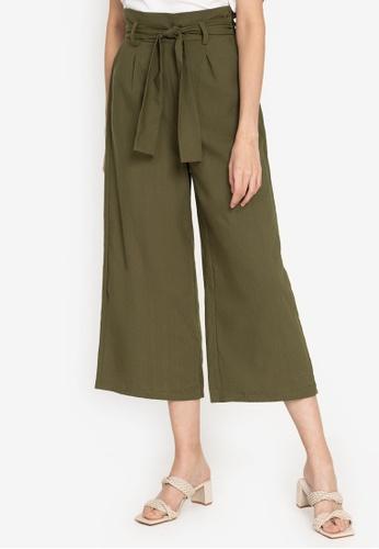 ZALORA BASICS green High Rise Paperbag Culottes FF570AA5EE8493GS_1