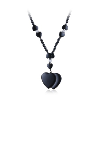 Glamorousky silver Fashion Double Heart-shaped Hematite Pendant with Necklace 3D793AC2018605GS_1