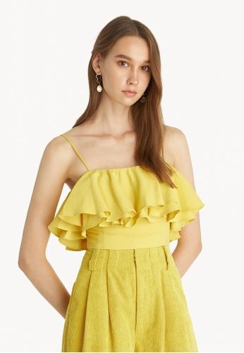 Pomelo yellow Layered Ruffle Cami Top - Yellow DFF78USBD3E2CFGS_1