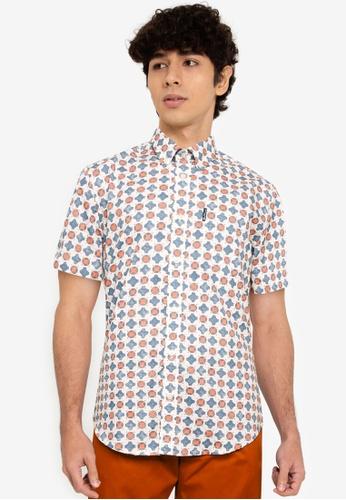 Ben Sherman blue Distressed Retro Print Shirt 8492FAAAE35199GS_1