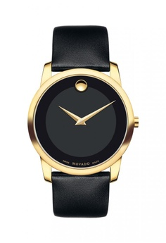 c5580804d movado black and gold Movado Museum Black Dial Leather Men s Watch  435A7ACD0FB49AGS 1