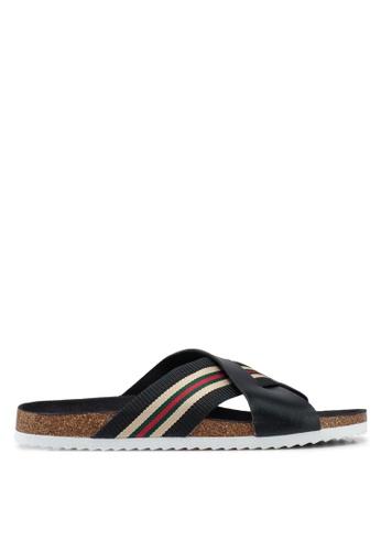 Brave Soul black Dawson Cork Sandals with Cross Straps E8109SH5AD1D5EGS_1