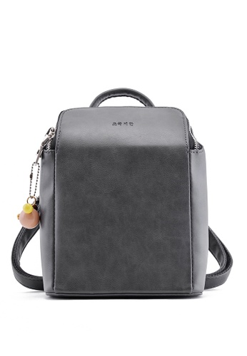 Vince grey Girls Candy Color Simplicity PU Leather Travel Backpack Casual Daypack(Grey) FL898AC29VVQMY_1