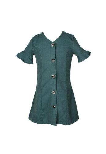 Mini Moley green Brushed Cotton Girl's Button Down Dress 54B85KAB25D889GS_1