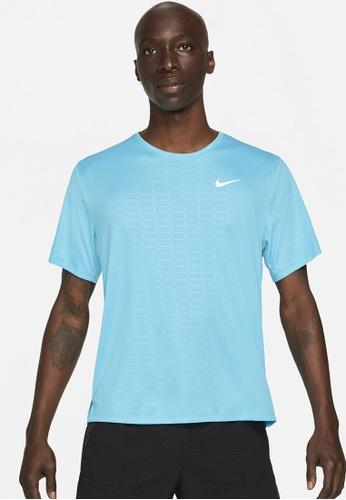Nike blue Miler Run Division Men's Short Sleeve Running Top 7B0AEAAAB76AB0GS_1