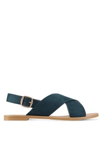 ZALORA green Cross Strap Sandals 99FD3SH4ADB66AGS_1