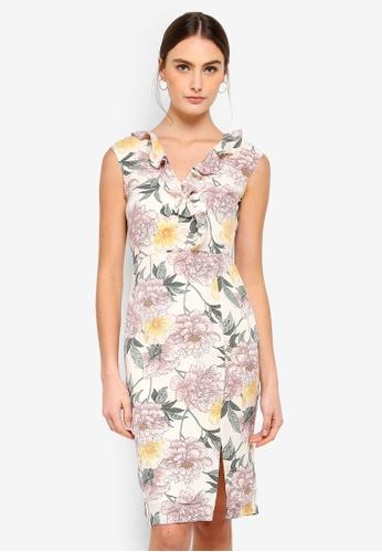 FORCAST pink Rosie Frill Neck Dress 4C935AA7E3D722GS_1
